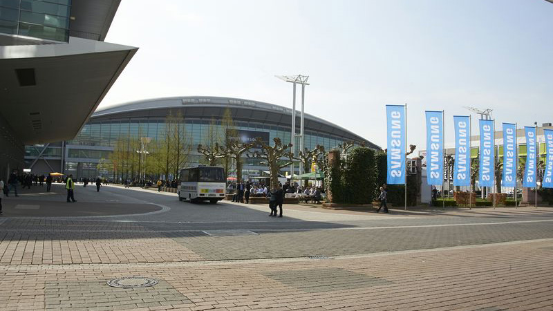 Messe Frankfurt fair ground with a bus