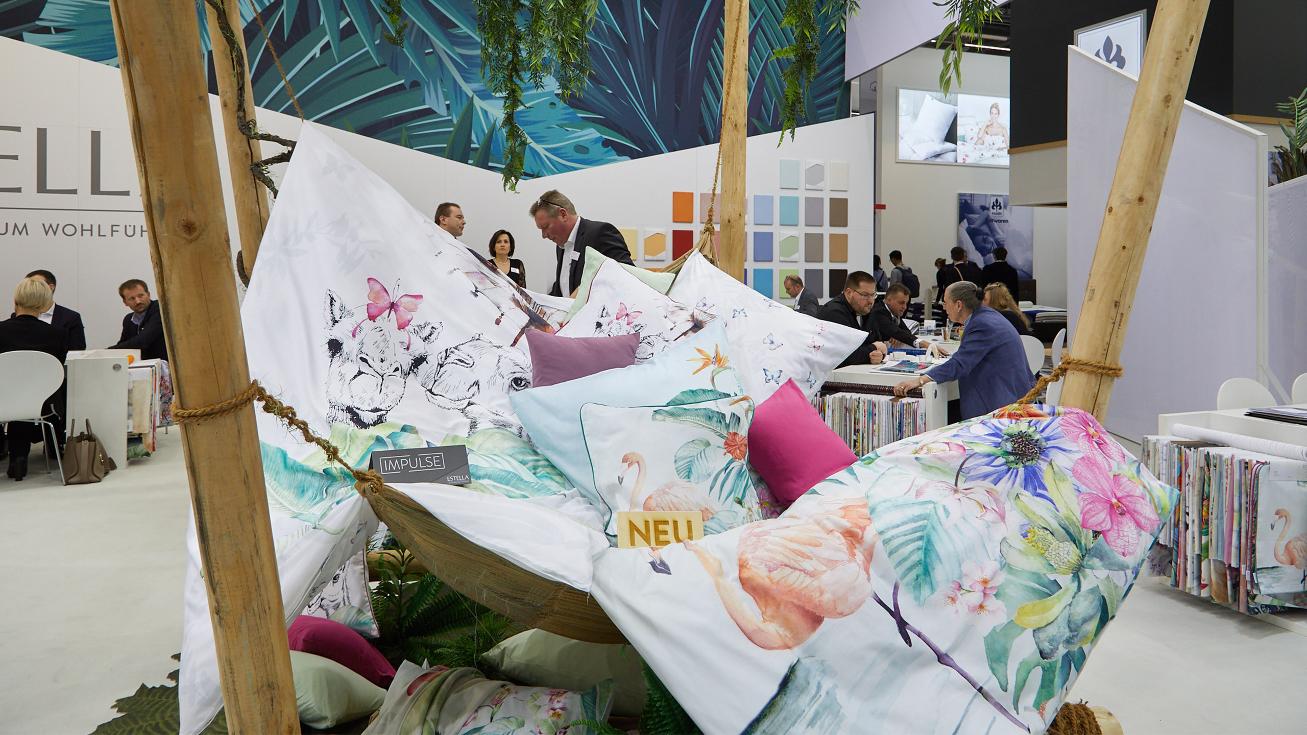 Pillows, a table and chairs at the Heimtextil 2019