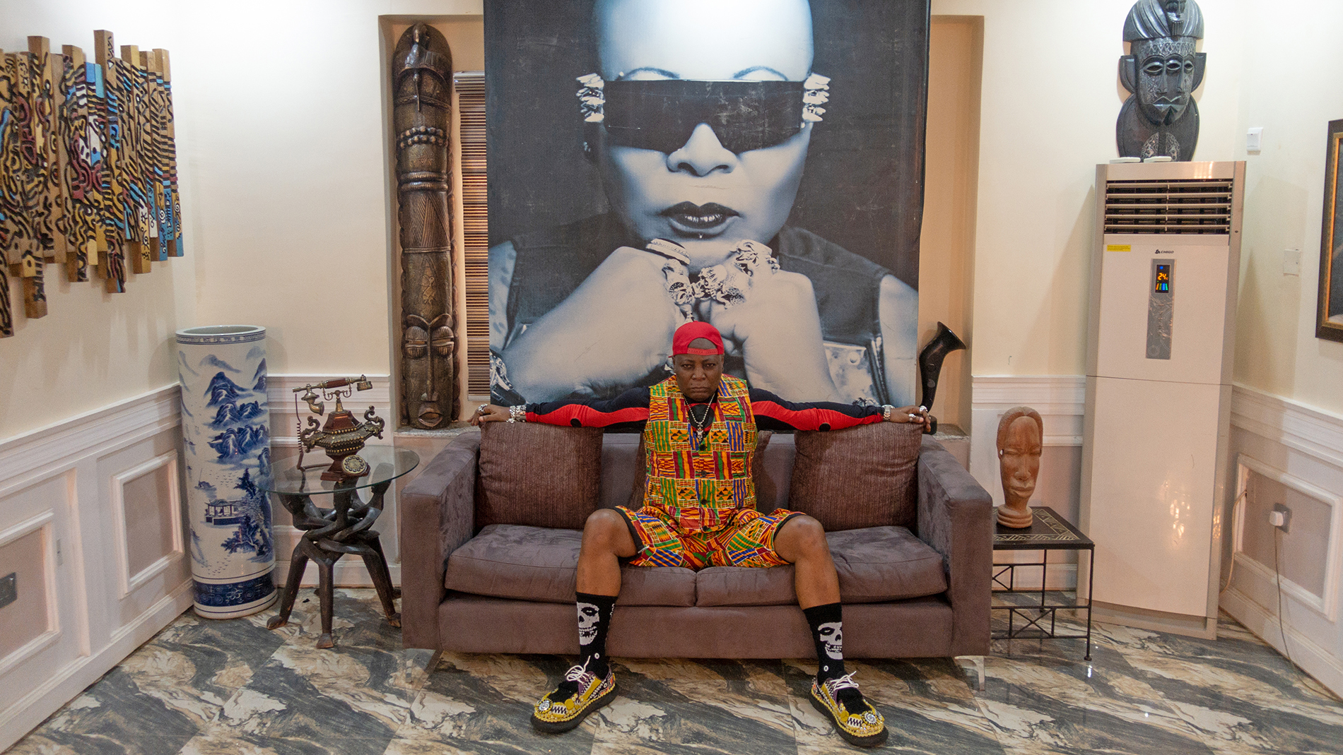 Provocateur and pop star Charly Boy (née Charles Oputa) at his home in Abuja, Nigeria, shot by Jan Hoek and Stephen Tayo.