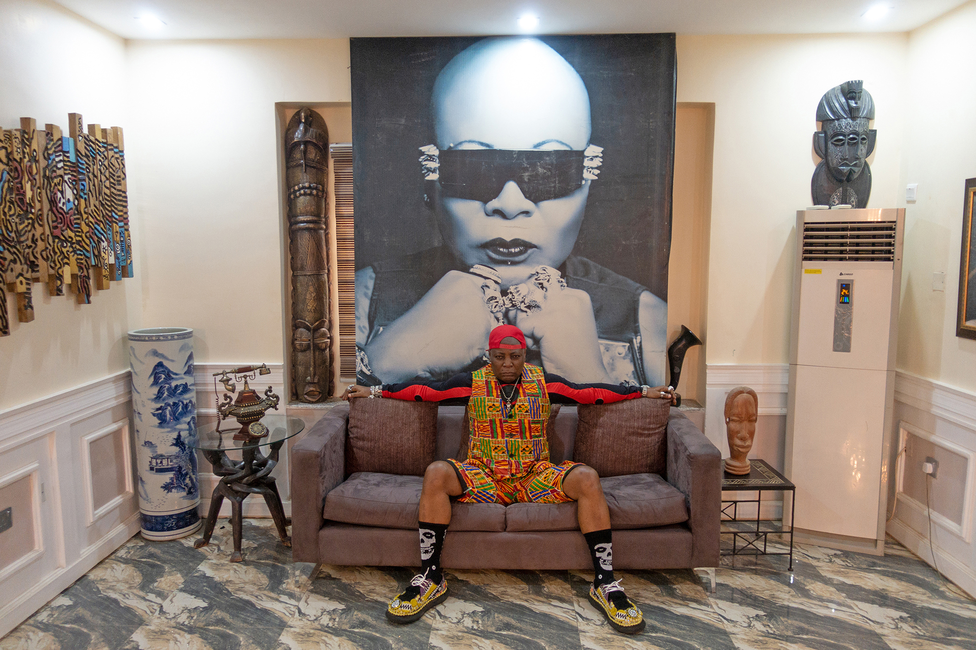 MULTI-LOCAL - Provocateur and pop star Charly Boy (née Charles Oputa) at his home in Abuja, Nigeria. Image by Stephen Tayo, Jan Hoek